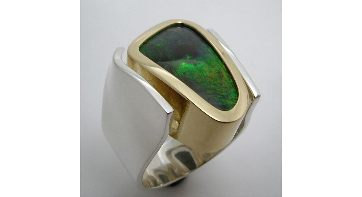 Ammolite Ring Men